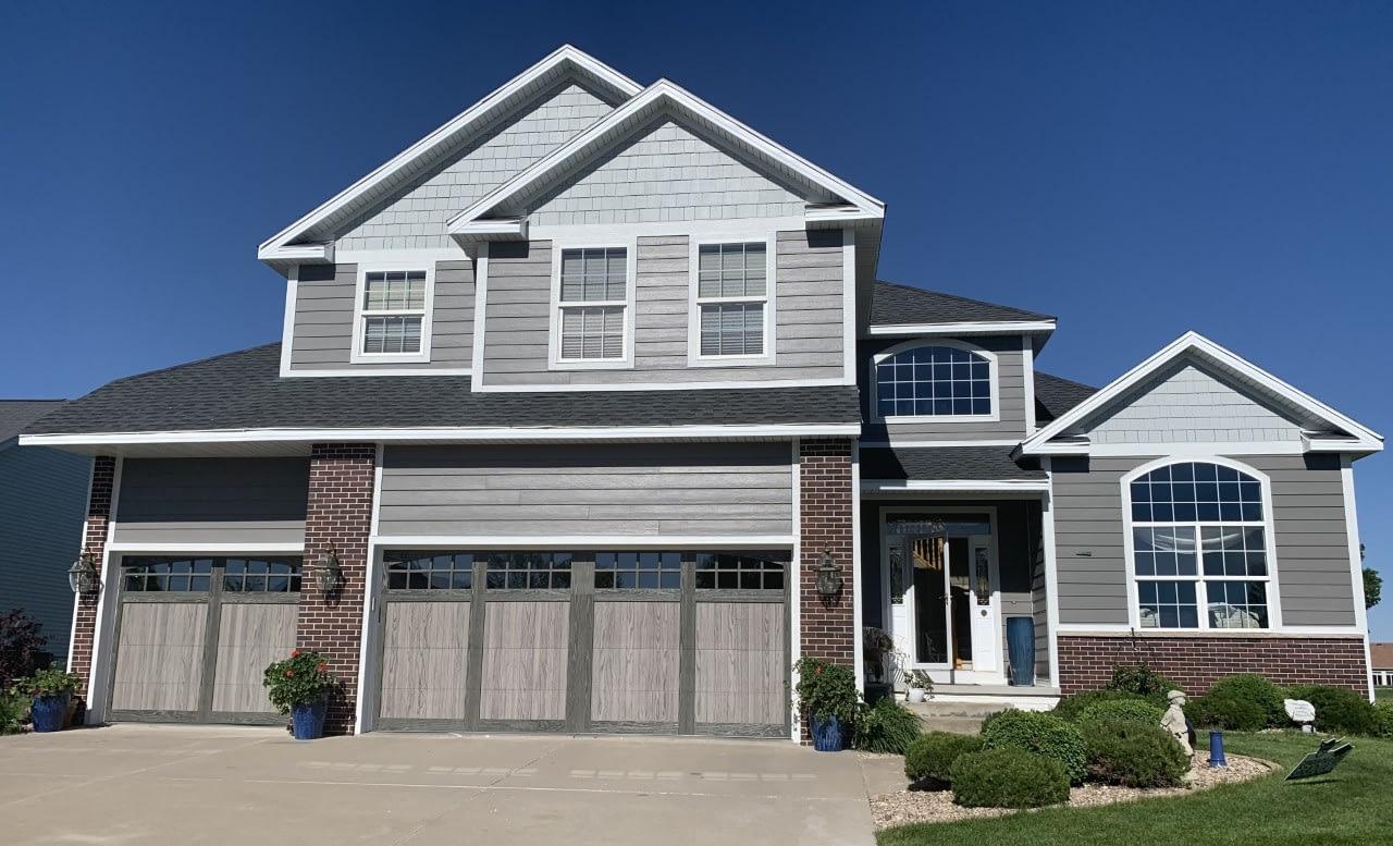 James Hardie color plus, shake, gutter, garage doors